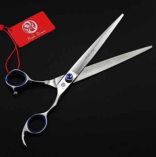 Purple Dragon 8.0 inch Professional Japan 440C Pet Grooming Hair Cutting Scissor &Curved Scissor&Chunker Shear Kit with Bag - for Pet Groomer (3PCS)