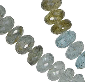 Aquamarine Color Shades Facet Rondelle Strand Transparent ~7.5mm-8mm 14.5""