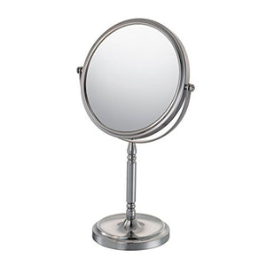Kimball & Young 86675 Recessed Base Vanity Mirror, 1X and 5X Magnification, Brushed Nickel