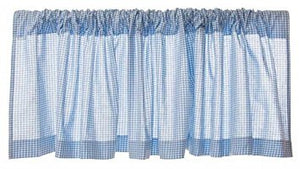 Glenna Jean Starlight Window Valance, Blue Gingham/White