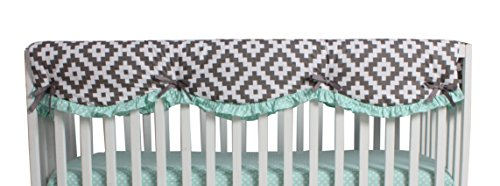 Bacati Love Crib Bedding Set with Long Side Rail Guard, Grey/Mint