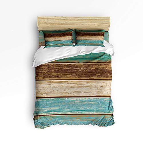 Clouday Queen Size Bed Sheet Set for Kids Girls Boys Christmas Decor,Retro Wood Grain Pattern 4 Piece Soft Duvet Cover Set Bedroom,Include 1 Flat Sheet 1 Duvet Cover and 2 Pillow Cases
