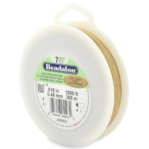 Beadalon 7-Strand Bead Stringing Wire, 0.018-Inch, Gold Color, 1000-Feet