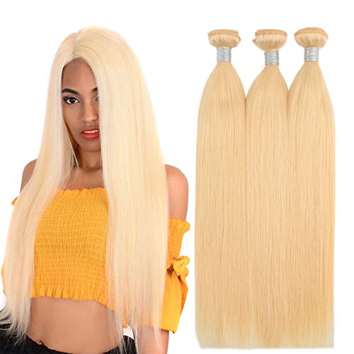 "#613 Blonde Human Hair Bundles 28 Inch 8A Brazilian Blonde straight hair 3 bundles Hair Extensions Human Hair Bundles Double Weft Brazilian Hair Bundles (28"" 28"" 28"")"