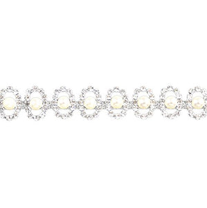 Belagio Enterprises 3/4-inch Rhinestone Trim with Pearl Gems 5 Yards, Silver/Crystal