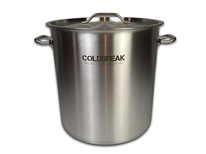 Coldbreak 10 Gallon Brewing Kettle (40 Quart), Stock Pot, Stainless Steel with Aluminum Core Bottom (Tri-clad), Heavy Duty, Includes Lid