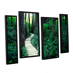"ArtWall 4 Piece Elana Ray's Earth Path Staggered Set Floater Framed Canvas, 24 x 36"", Multicolor"