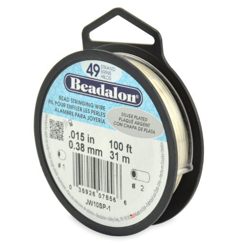 Beadalon 49-Strand Bead Stringing Wire, 0.015-Inch, Silver Plated, 100-Feet