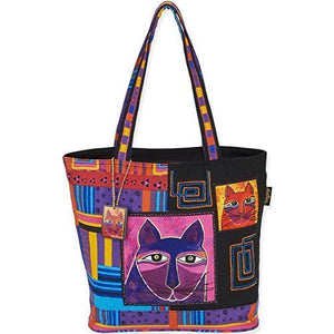 Laurel Burch Shoulder Tote, 16 by 5 by 14-Inch, Whiskered Cats by Laurel Burch
