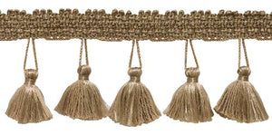 DecoPro 24 Yard Package - 2.5 Inch Dark Sand Tassel Fringe Trim|Basic Trim Collection|Style# ETF|Color: Antique Brass - A8 (84 Ft / 21.9 Meters)