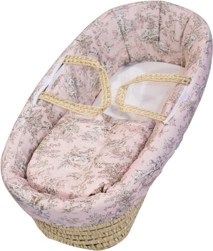 Baby Doll Bedding Toile Deluxe Moses Basket, Pink