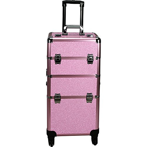 Hiker 4-Wheels Professional Rolling Aluminum Cosmetic Makeup Case & Easy-Slide & Extendable Trays with Dividers, Pink, 22 Pound