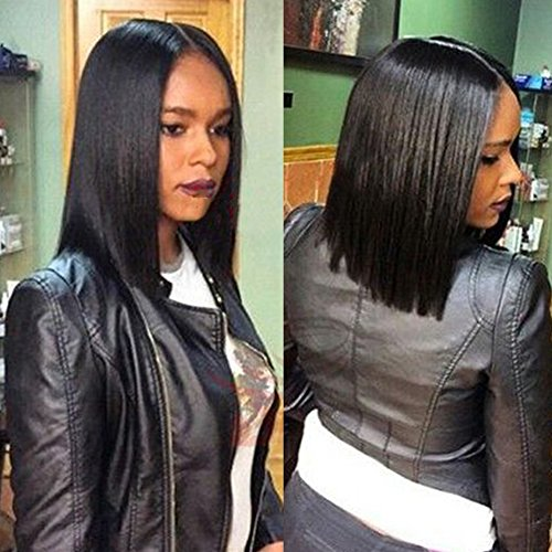 Doren Straight Human Hair Wigs U Part Short Bob 1x4 Opening Size Middle Parting Virgin Brazilian Hair Natural Color 130%Density 12 Inches