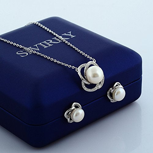 Sivirry Fashion Flower Diamond Freshwater Pearl with Sterling Silver Chain Necklace Earrings Set