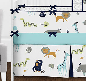 Sweet Jojo Designs 9-Piece Turquoise and Navy Blue Safari Animal Mod Jungle Baby Boy or Girl Crib Bedding Set with Bumper