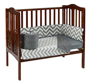 Baby Doll Bedding Minky Chevron Mini Crib/Port-A-Crib Bedding, Grey