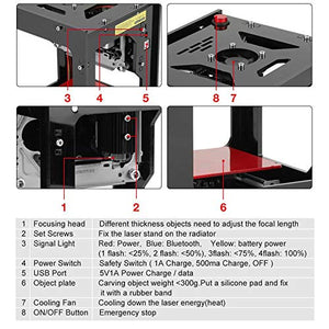 1500mw Laser Engraver Printer, NEJE DK-BL 550x550 Pixel High Resolution Art Craft Science Industry High Speed Laser Engraving Cutter Mini USB Carver Machine Bluetooth 4.0 with Protective Glasses