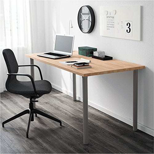 "IKEA ALVARET Solid Natural Wood Desk Table Legs - 27.5"" Tall - Modern Octagon Shape - Table Attachment Hardware & Screws Included, Gray, [Set of 4] - Perfect for Home, Work, School, Office"