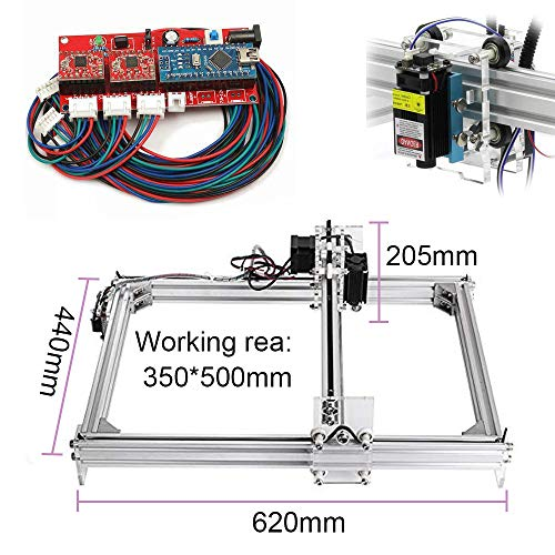 1600mw Laser CNC Engraving Machine, DIY 3550 CNC Machine Precison 0.1mm with USB Interface, Carving Machine for Leather Wood Plastic, Supporting GRBL with Protective Glasses