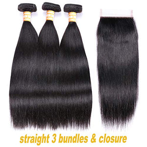 VTAOZI Brazilian Straight Virgin Hair 3 Bundles with Closure Free Part 8A 100% Unprocessed Remy Human Hair Weft Weave with 4x4 Lace Closure Natural Color (16 18 20 with 14 Free Part)