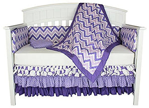 Bacati Dots and Chevron 8-in-1 Cotton Baby Bedding, Bumper, Purple