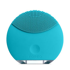 FOREO LUNA Mini Silicone Face Brush with Facial Cleansing for All Skin Types, Turquoise Blue