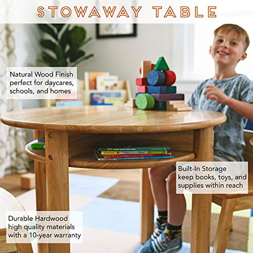 ECR4Kids Stowaway Table - Solid Wood Round Kids Table with Built-in Storage, Natural