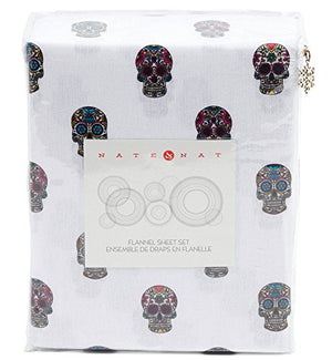 Nate & NAT 4 Piece Cotton Flannel 4 pc Queen Sheet Set Colorful Style Sugar Skulls on White