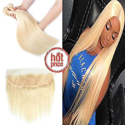 #613 Blonde Straight Hair 3 Bundles With Lace Frontal Closure Malaysian Virgin Human Hair Frontal With Remy Hair Weft Unprocessed Hair Weave Ombre Color Hair Extensions (22 24 26+20, 613 blonde)