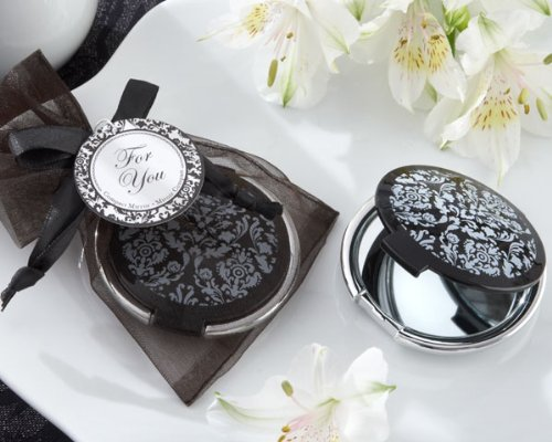 """Reflections"" Elegant Black-and-White Mirror Compact - Set of 24"