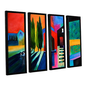 ArtWall Susi Franco's Trying to Talk Her in to it 4 Piece Floater Framed Canvas Set, 24 by 32""