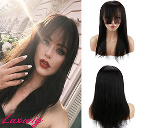 Deewin Long Straight Human Hair Wigs with Bangs for Black Women Glueless 100% Brazilian Human Hair Lace Front Wig with Baby Hair Natural Black