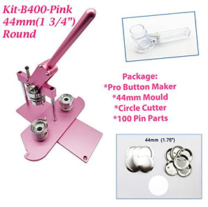 "ChiButtons (KIT) 44MM(1.75"") Pro Badge Machine Button Maker B400 + Mould + 100 Parts + Circle Cutter Metric System (Pink)"