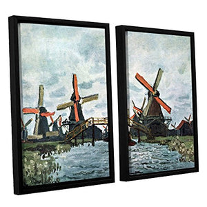 ArtWall Claude Monet's Windmills 2 Piece Floater Framed Canvas Set, 24 by 32""