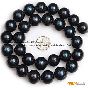GEM-inside 15mm Big Large Black Round Nuclear Edison Pearls Stone Beads for Jewelry Making Loose Beads 15""