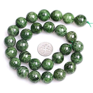 "Green Diopside Beads Jewelry Making Natural Semi Precious Gemstone 14mm Round AA Grade Strand 15"" JOE FOREMAN"