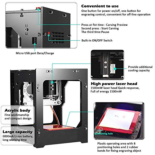 Laser Engraver Printer, 1000mW 490x490 Pixel DIY USB Mini Engraving Machine, CNC Router Cutting Carver Off-line Operation for Art Craft Science, High Speed Laser Engraving Cutter