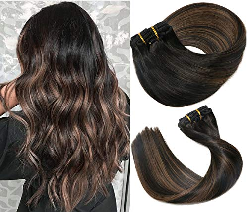 Clip In Human Hair Extensions Thicken Double Weft 9A Brazilian Hair 120g 7pcs Natural Black to Chestnut Brown Highlight Black Full Head Silky Straight 100% Human Hair Clip In Extensions 18 Inch