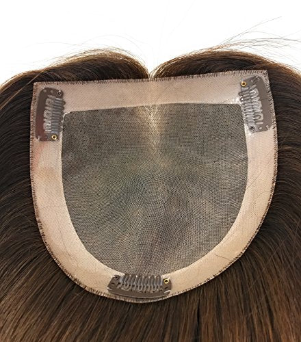 10 inch Long Straight Real Natural Human Hair – Women's Kippah Toppers - Monofilament Bondable Hairpiece Closure / Cover Color #8/6 Medium Brown W/ Highlights