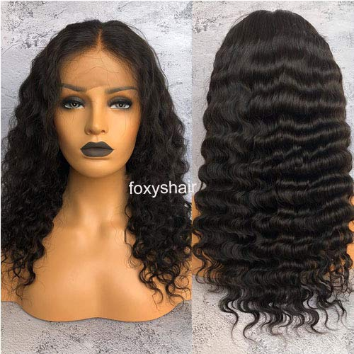 Foxy's Hair Deep Wave long Lace Front Wigs 13x6 lace frontal human hair wig For Black Women (18inch)