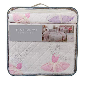 Tahari Pretty Dancing Ballerinas Ballet Class Pastel 3D Tulle Skirts Full/Queen Cotton Quilt Set Pink Purple on White Background