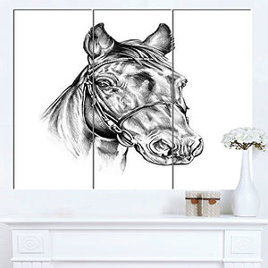 Freehand Horse Head Pencil Drawing Animal on Canvas Art Wall Photgraphy Artwork Print