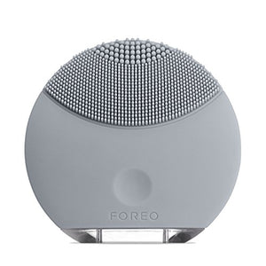 FOREO LUNA Mini Silicone Face Brush with Facial Cleansing for All Skin Types, Cool Gray