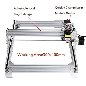 CNC 500mw Laser Engraver Kits, TopDirect CNC Router Wood Carving Engraving Cutting Machine 2 Axis Desktop Printer for Leather Wood Plastic DIY (Working Area 300mm x 400mm)