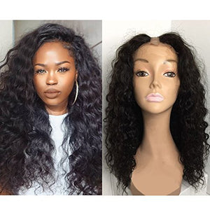 "Foxys'Hair Unprocessed 7A Peruvian Virgin Human Hair U Part Wigs For Black Women 150% High Density Deep Wave U Part Wig Natural Color (18"" u part)"