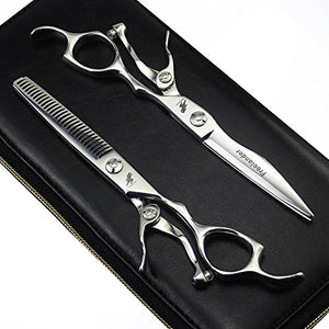 Freelander 6.0 inches Silver Barber Hair Dry Cutting Shear and Salon Wet Thinning/Blending Scissor for Professional Hairstylist