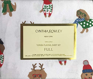 Cynthia Rowley 4 Piece Full Size Bed Cotton Turkish Flannel Sheet Set Dogs in Colorful Christmas Sweaters