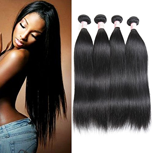 HMD Hair 7A Brazilian Virgin Silky Straight Hair 4Bundles Unprocessed Human Hair Extensions 12 14 16 18(Natural Color)