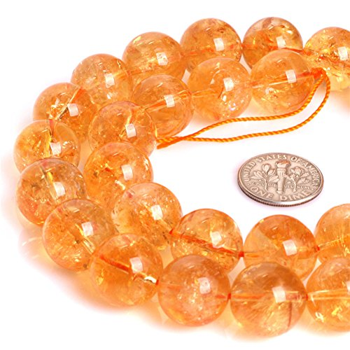 "Yellow Citrine Beads for Jewelry Making Natural Semi Precious Gemstone 14mm Round AAA Grade Genuine Strand 15"" JOE FOREMAN"