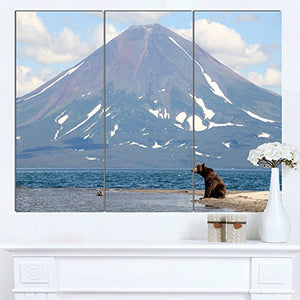 Large Bear in Front of Volcano Landscape Canvas Wall Art